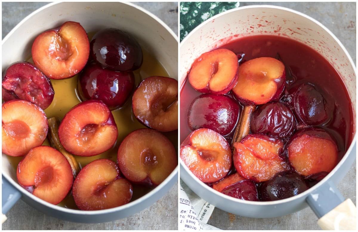 Cooking plums in a pot.