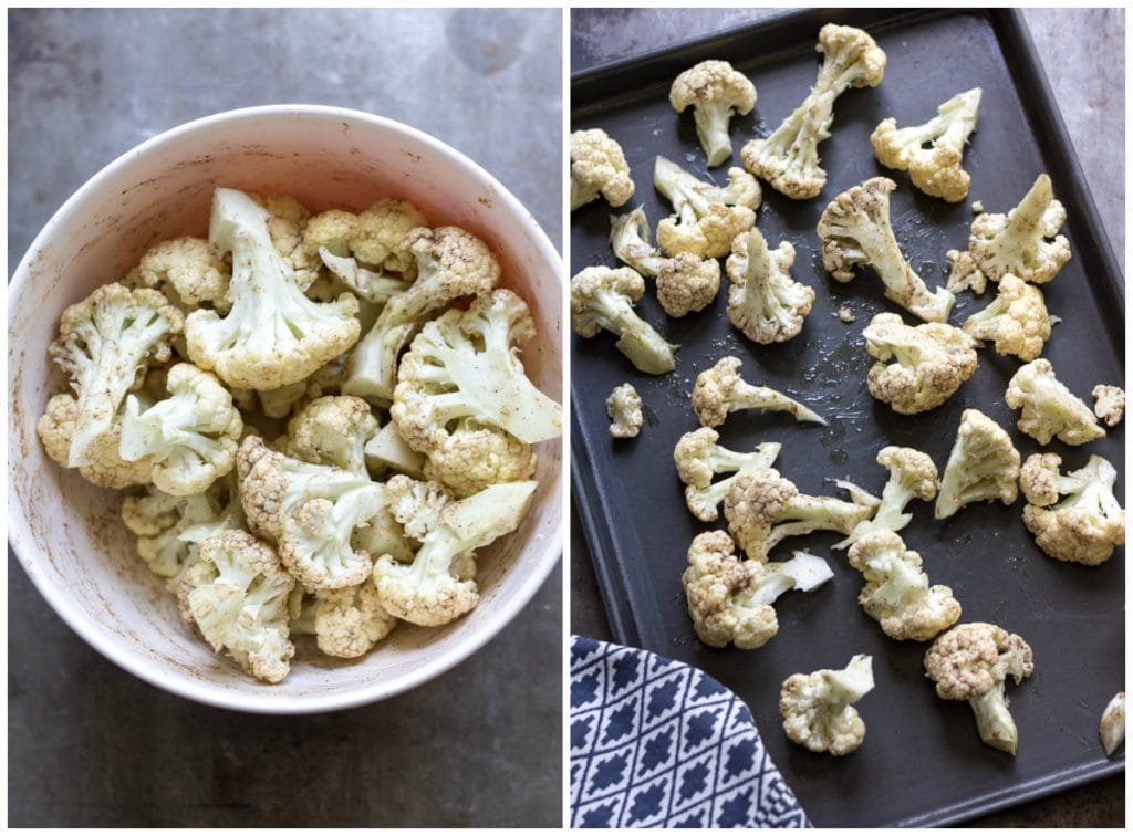 Cauliflower in a bowl and on a baking sheet.