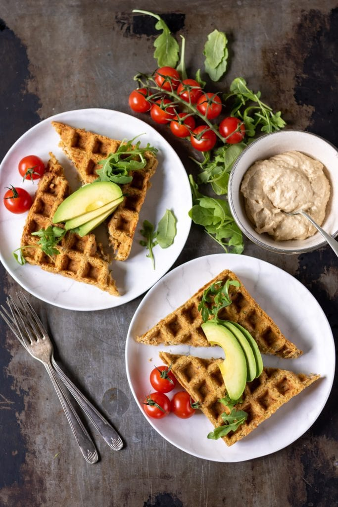 A bowl of food on a plate, with Falafel waffle
