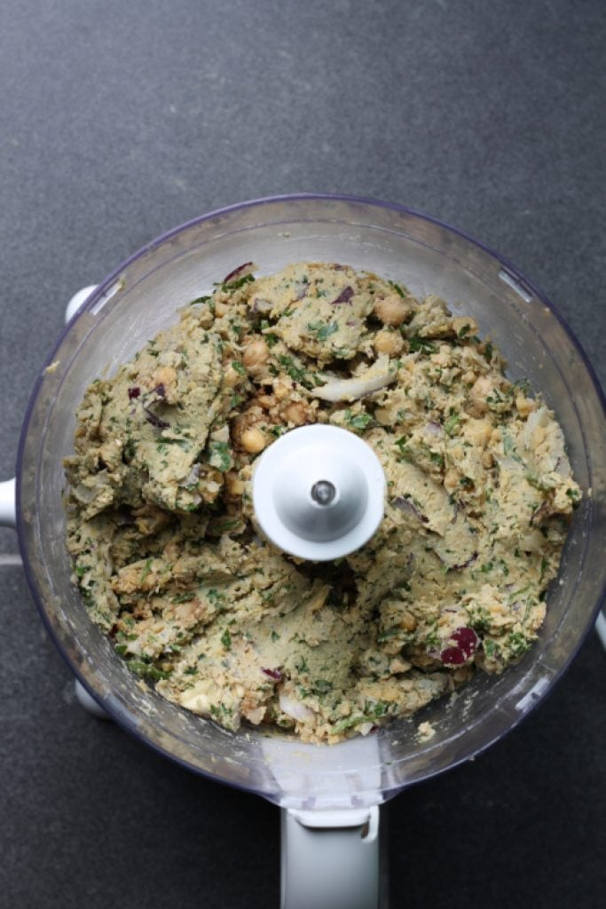 Food processor with falafel mix made in it.