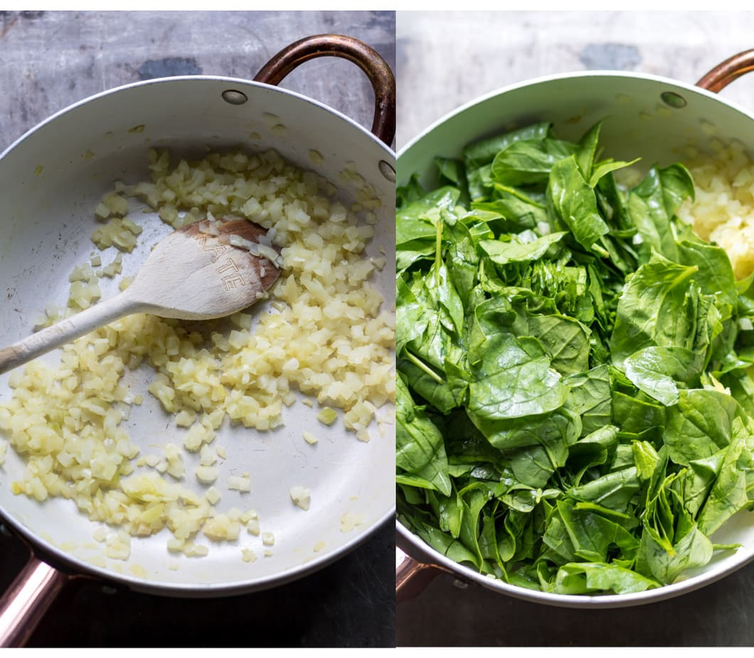 Pot of cooked onions, and pot of cooked onions with spinach.