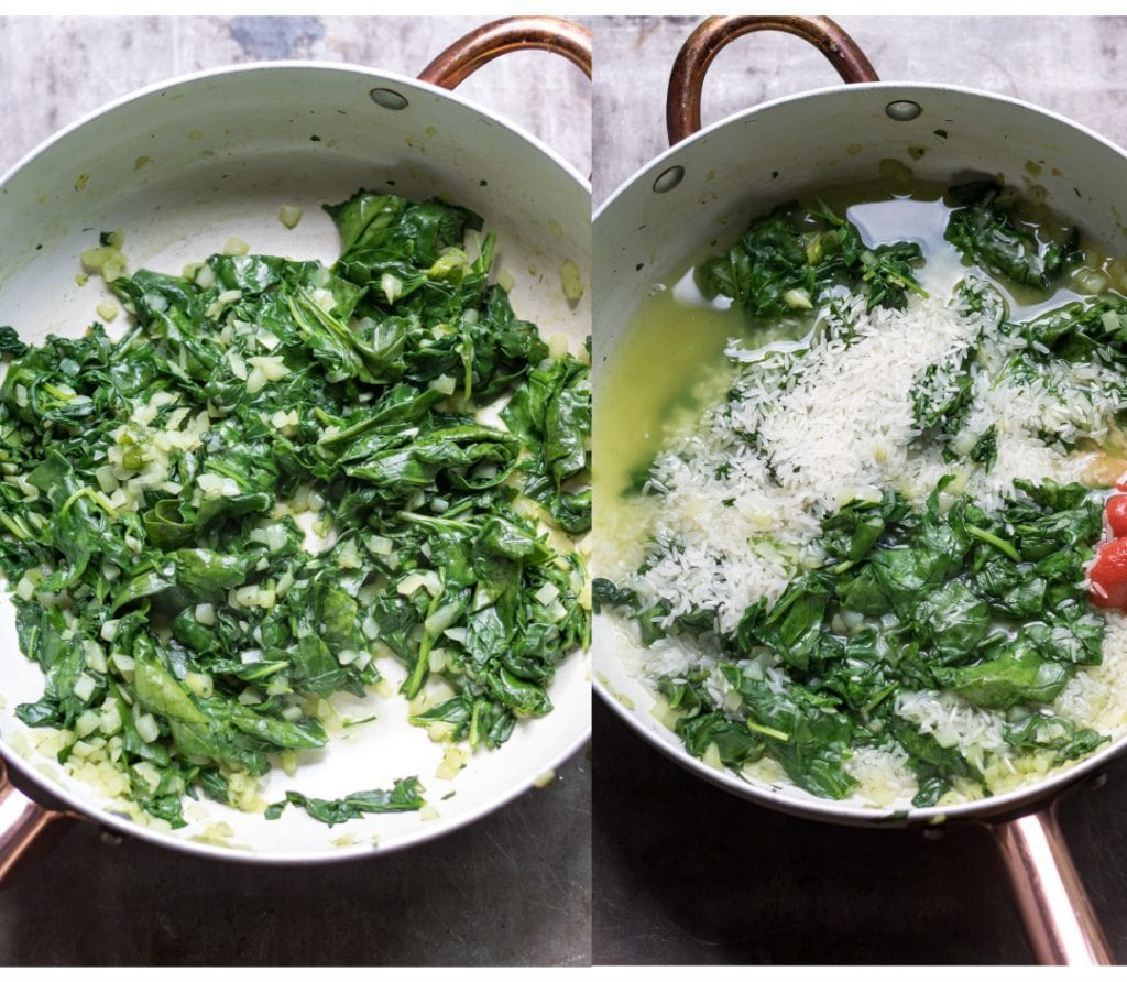 Collage: Pan of onions and spinach; pan with added water, rice and tomato paste.