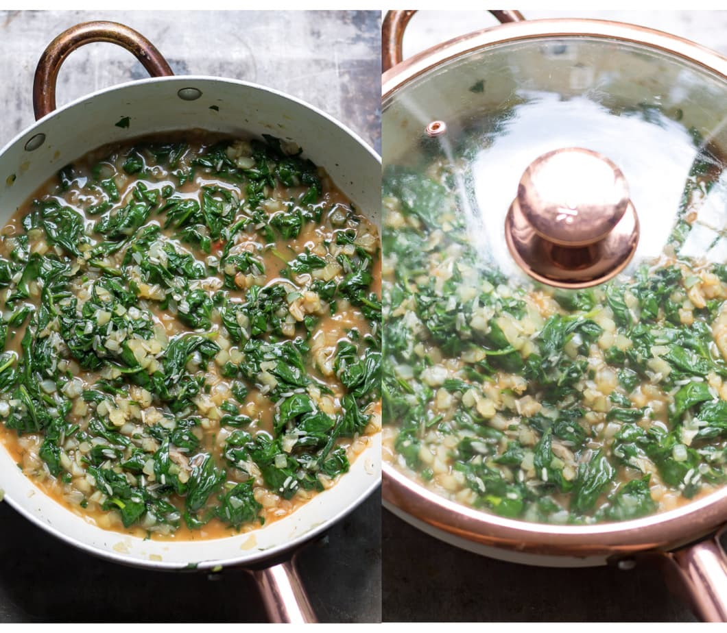 Collage: Pan of spinach rice cooking; same pan with lid on.