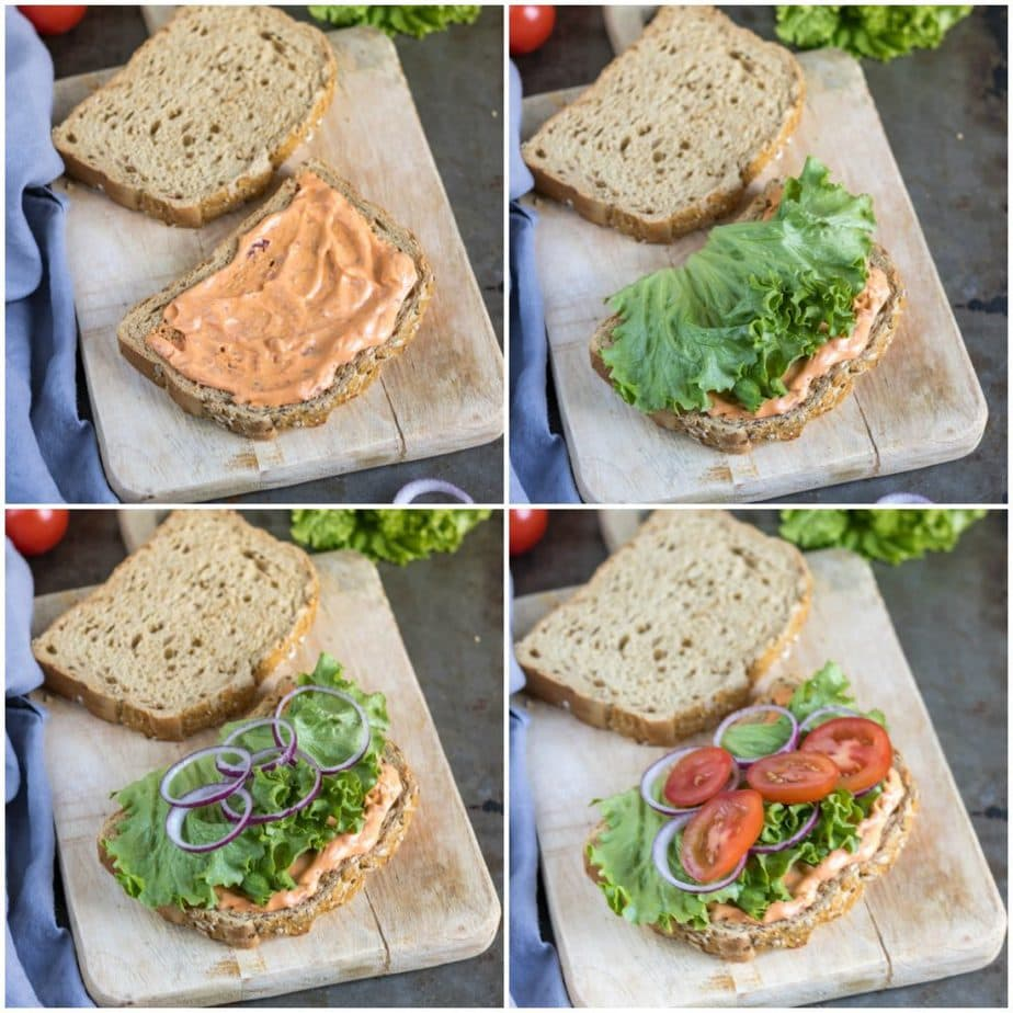 Collage showing sandwich being made - adding mayo, lettuce, onions and tomatoes.