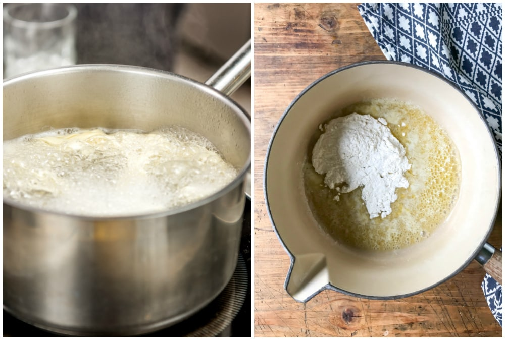 Collage, image 1 is pasta boiling, image 2 is a pot with melted butter and flour.
