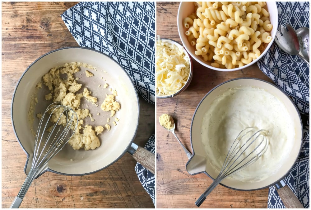 Collage. Image 1 is a pot with melted butter mixed with flour. Image 2 is a pot of white sauce.