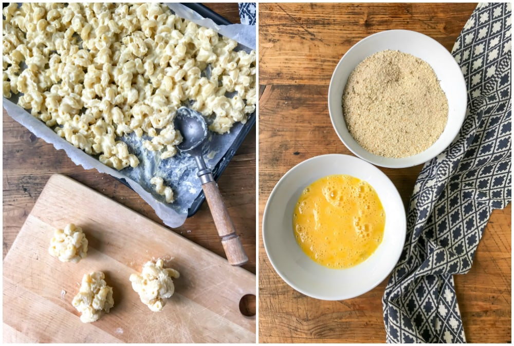 Collage: 1 is mac and cheese balls. 2 is bowls of egg and breadcrumbs.