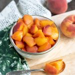 Bowl of compote made of peaches.