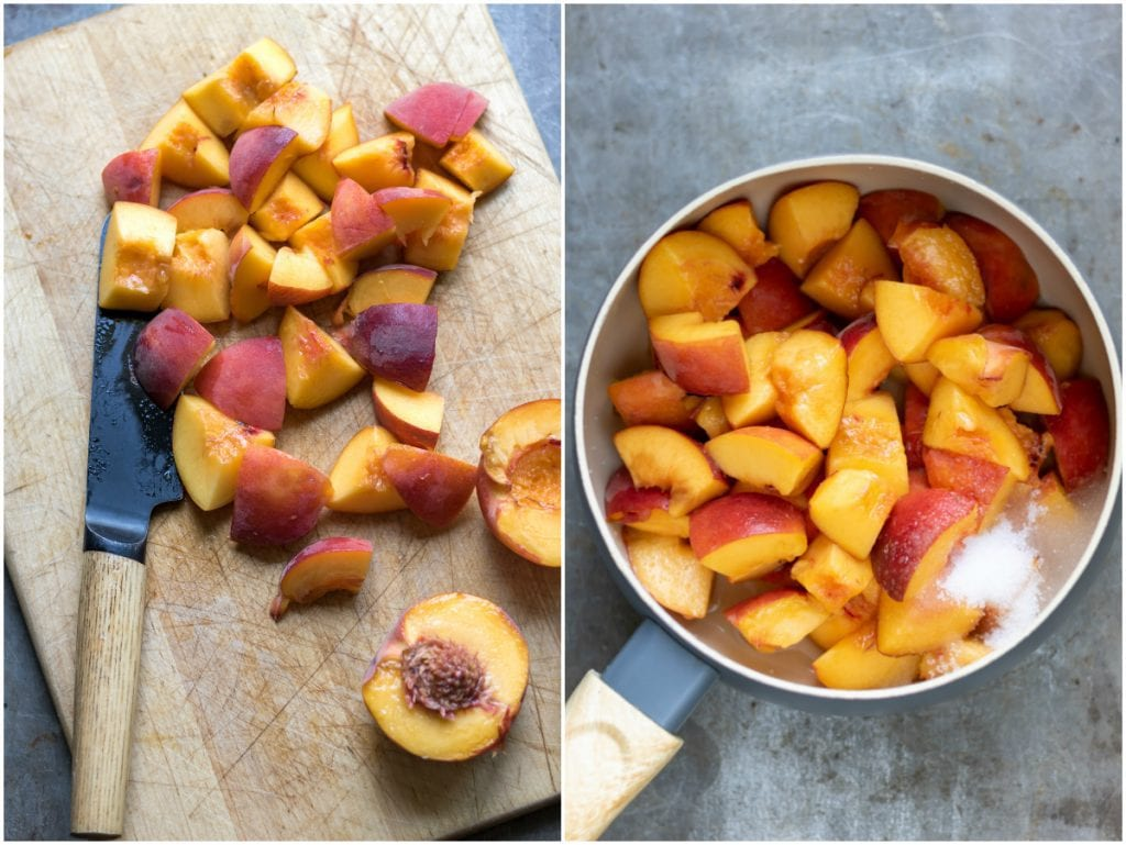 Collage: cut peaches on a board, pot of cut peaches, sugar and lemon juice.