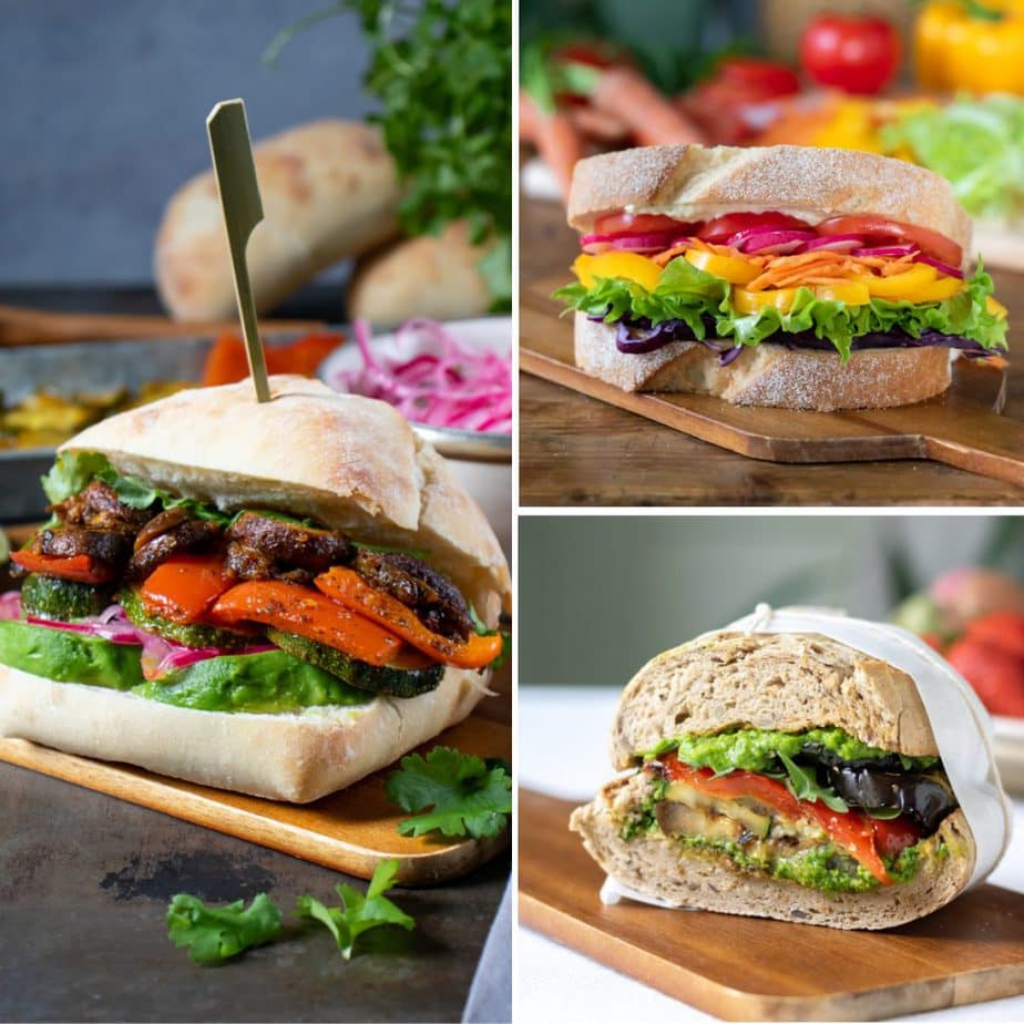 Collage of three vegan sandwiches.