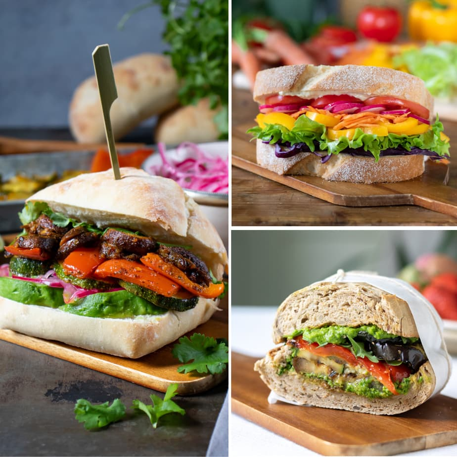 Collage of sandwiches - peruvian, rainbow and roasted veg.