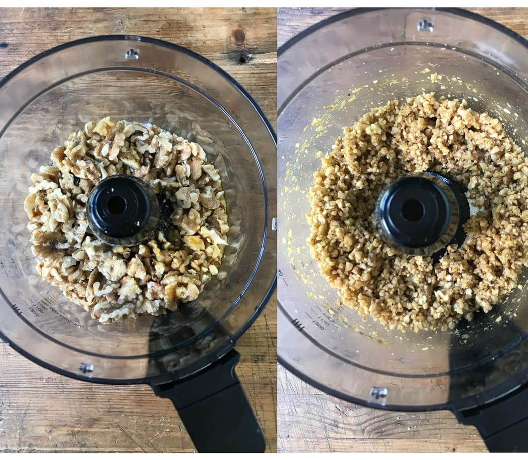 Collage: pic 1 walnuts in a food processor, pic 2 whizzed walnuts.