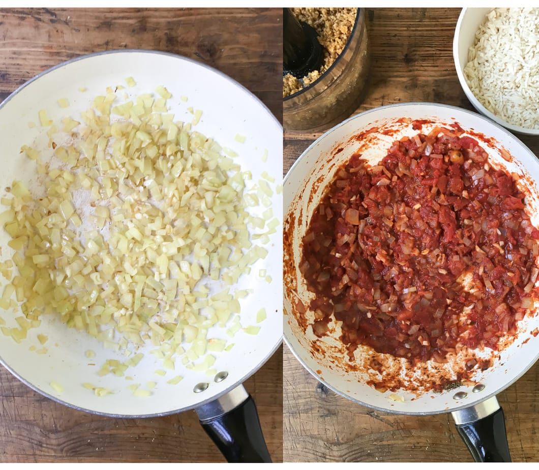 Collage: pic 1 onions in a pan, pic 2 tomatoes and herbs stirred in.