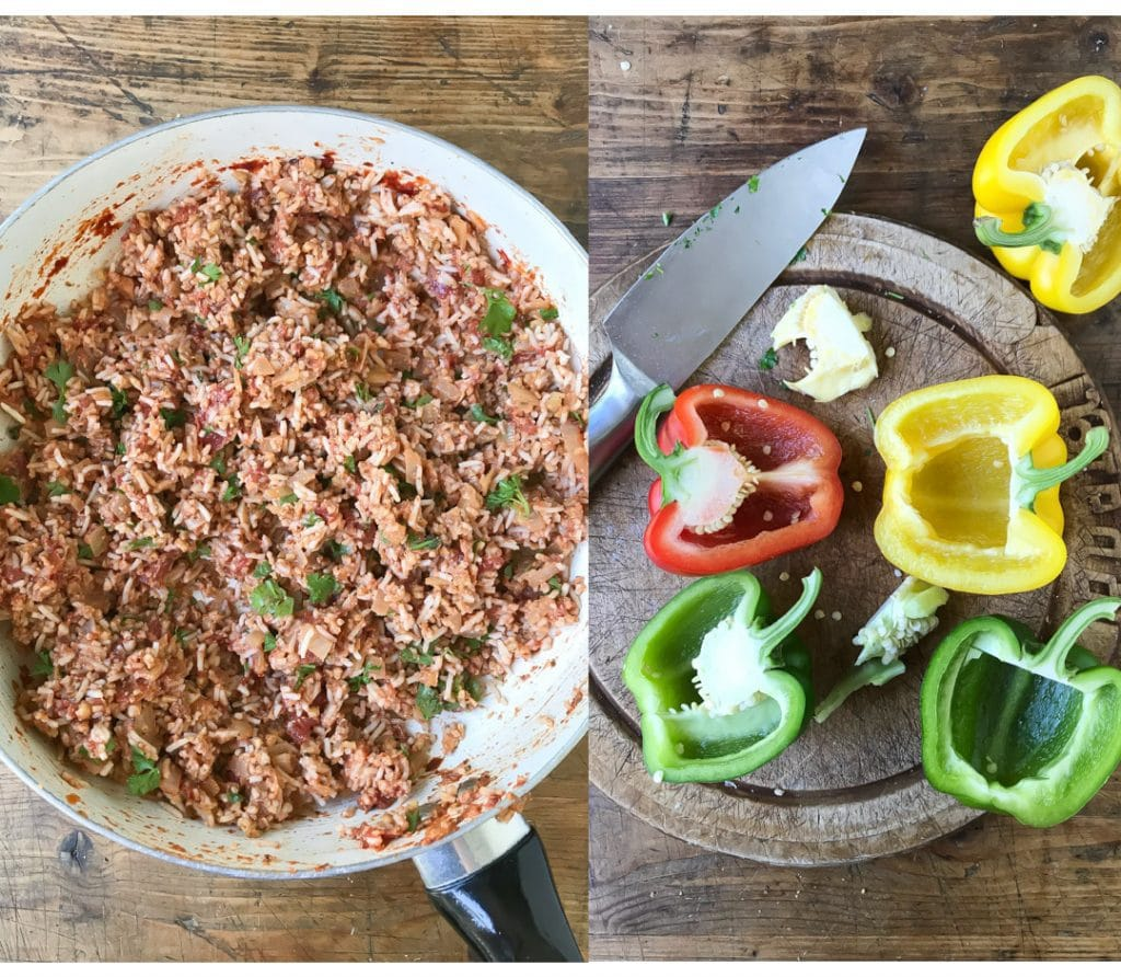 Collage: pic 1 pan of stuffed pepper filling, pic 2 halved peppers.
