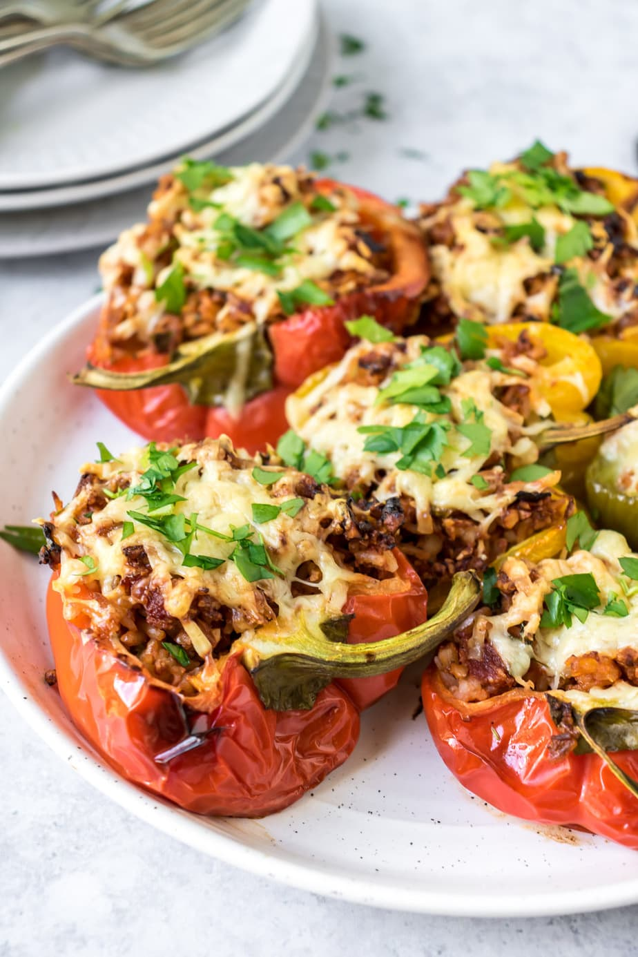 Serving dish of vegetarian stuffed peppers.