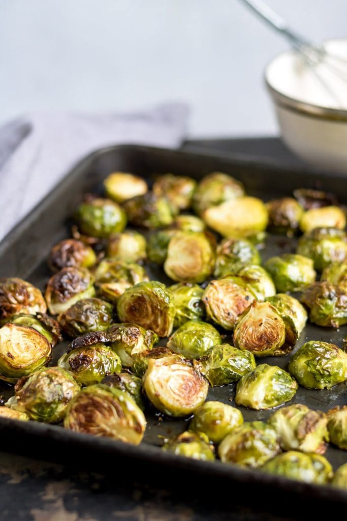 Tray of roasted sprouts.
