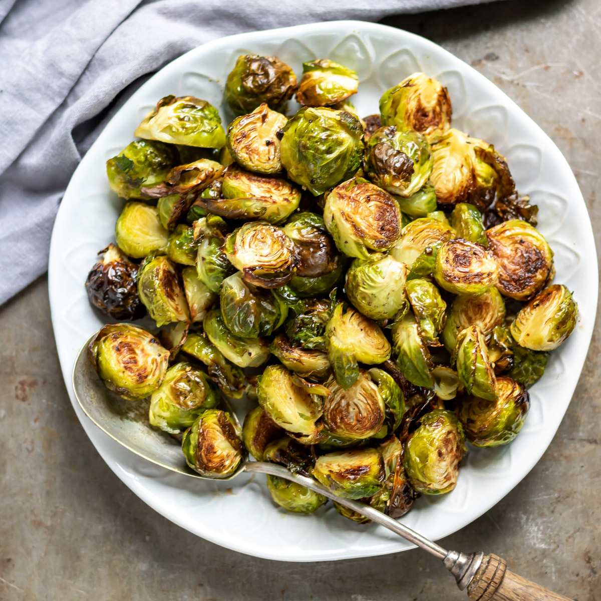 Dish of roasted sprouts.