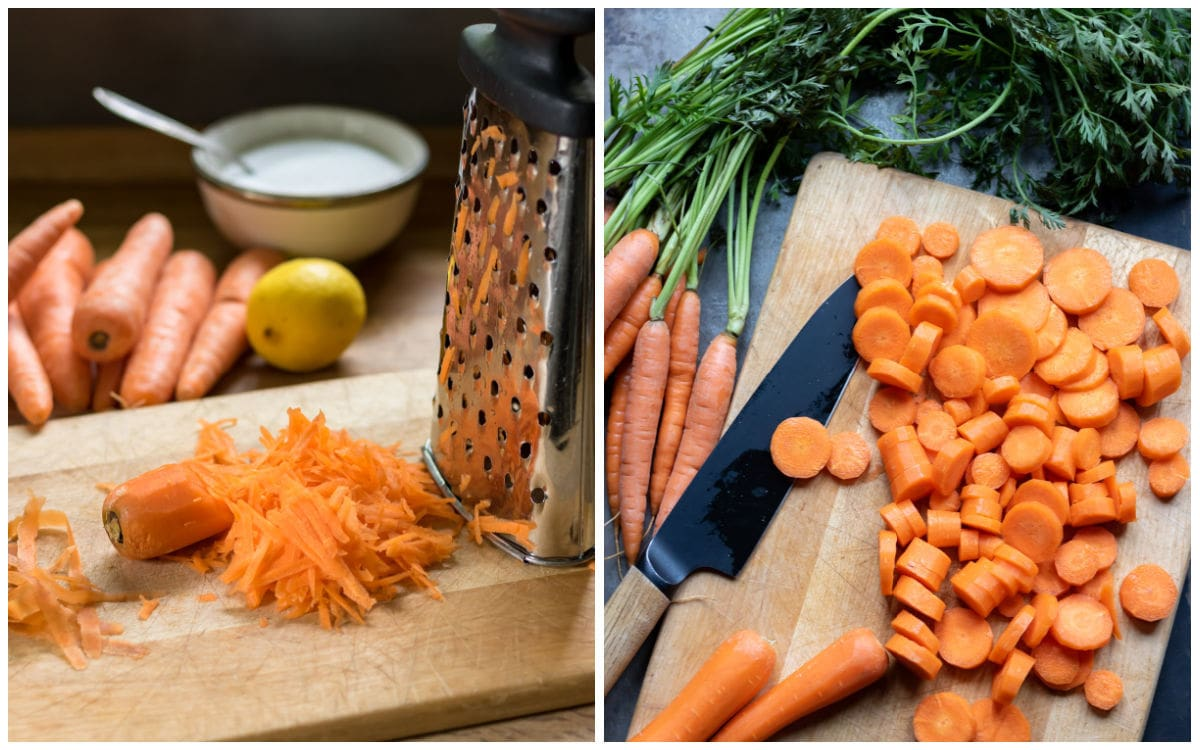 Collage: image 1 grated carrot, image 2 carrot chopped into rounds.