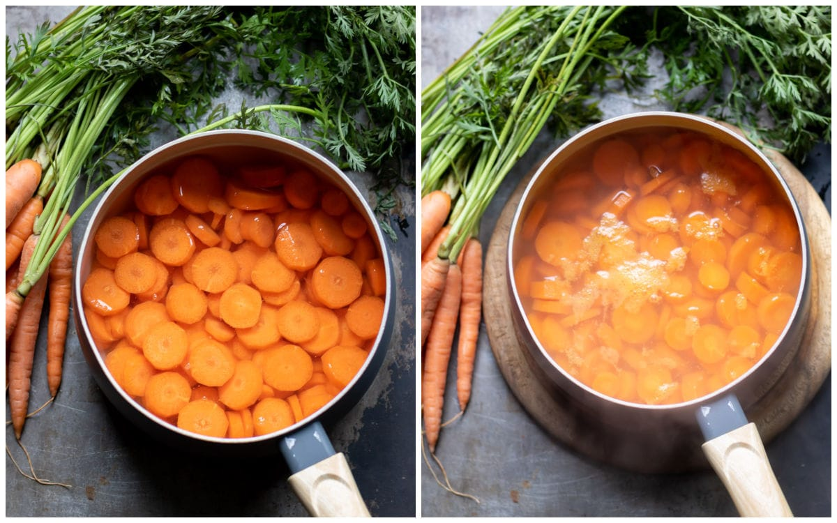 Collage: image 1 carrot rounds in a pot, image 2: cooked carrot rounds in a pot.