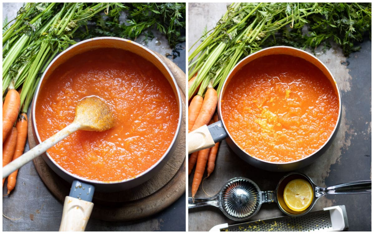 Collage, image 1 pureed carrot in a pot, image 2 is same pot with lemon zest.