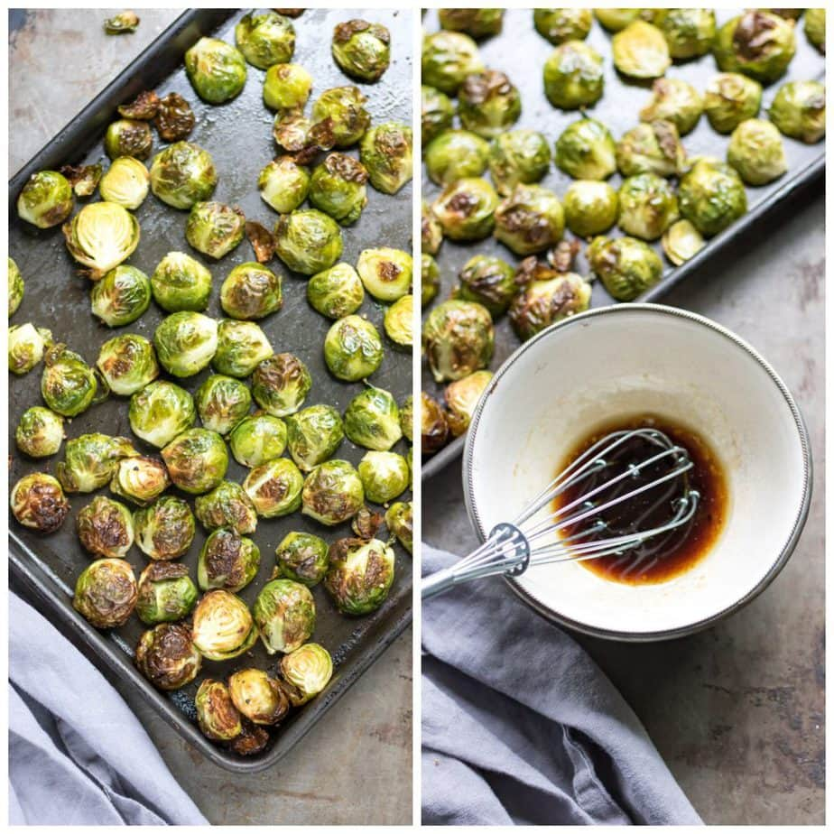 Collage: Roasted sprouts; bowl of balsamic glaze.