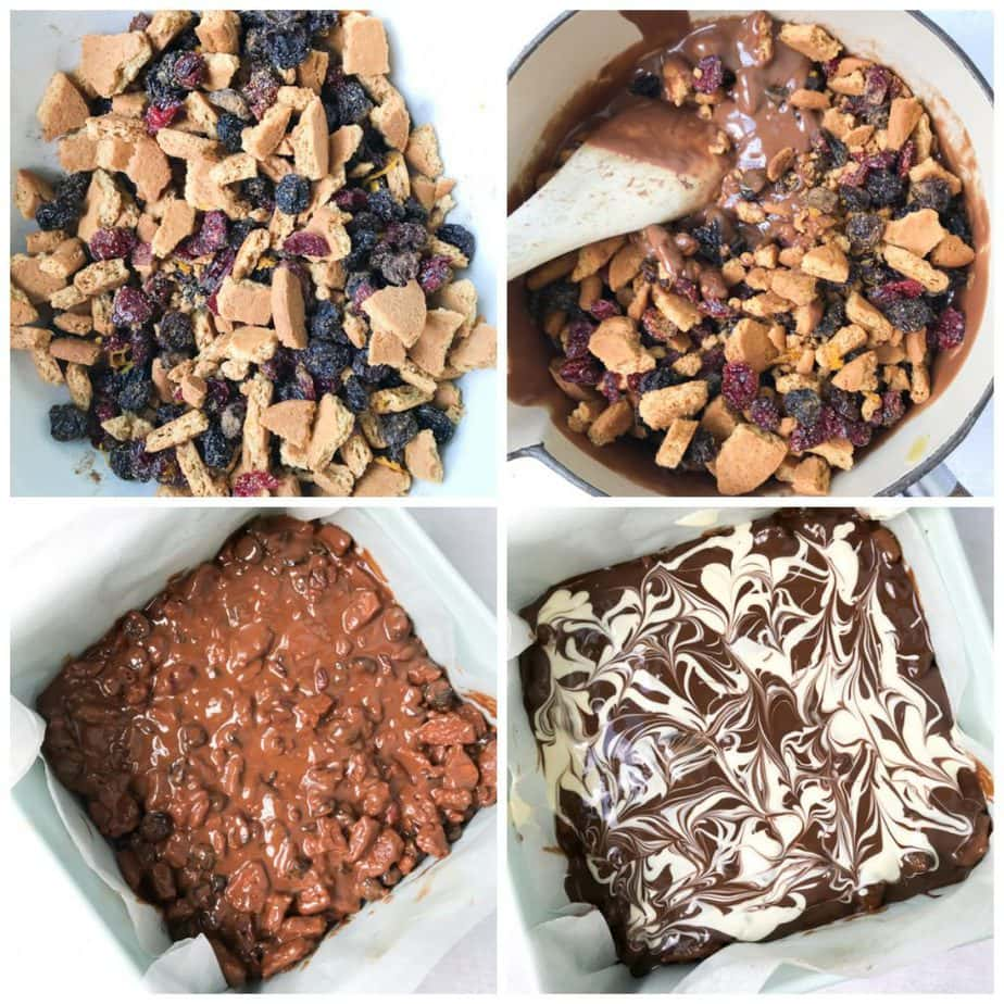 Collage: 1: crushed cookies and raisins, 2: added melted chocolate, 3: poured into a pan, 4: melted white and milk chocolate swirled on.