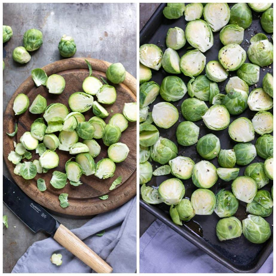 Collage: cut sprouts on cutting board; sprouts on baking sheet.