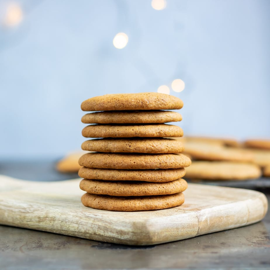 Stack of cookies with lights in the background.