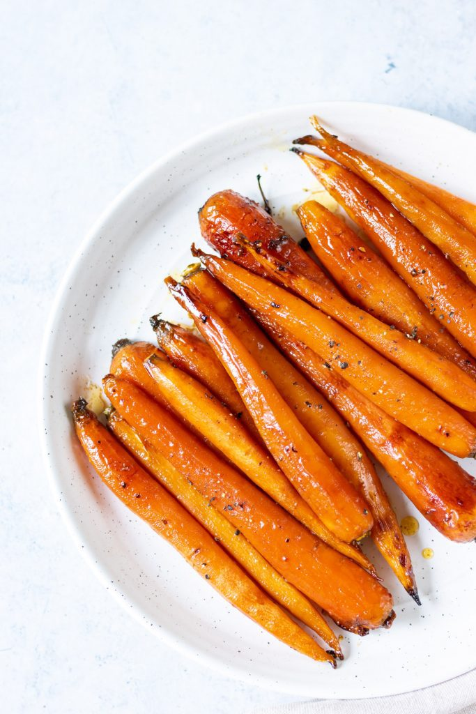 Plate of roasted carrots.
