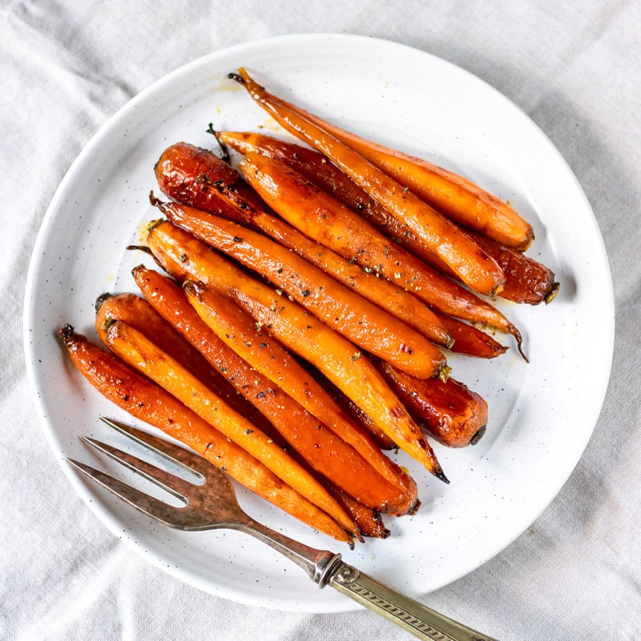 Plate of maple roasted carrots.