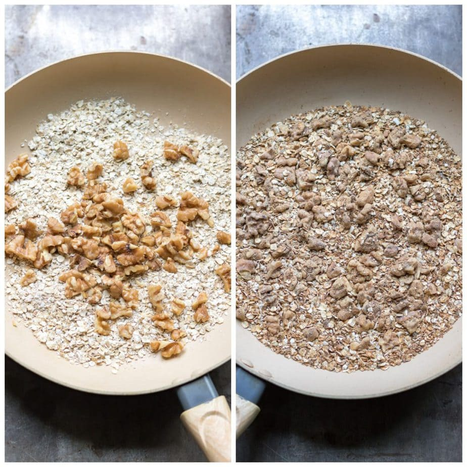 Collage: 1 walnuts and oats in a skillet, 2 stirred together.