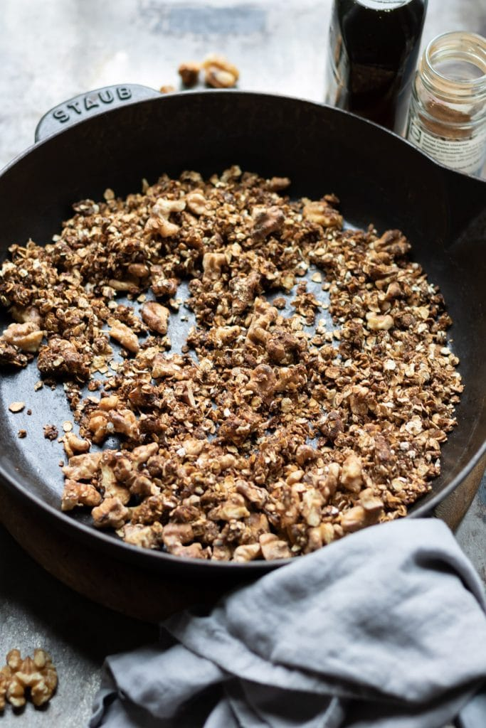 Skilet of granola cooking.