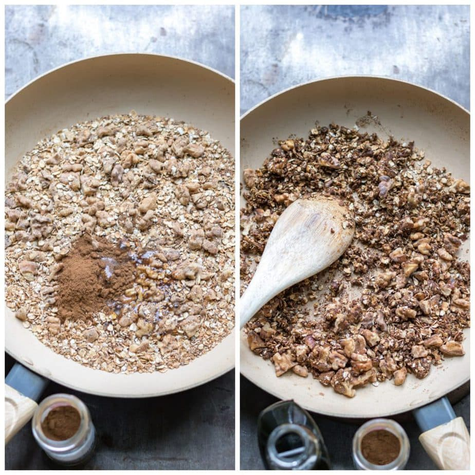 Collage: 1 spices added, 2 granola cooking.
