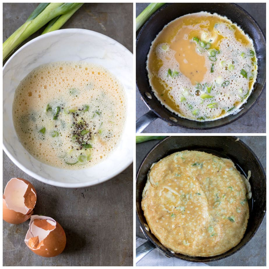 Collage: bowl of whisked egg and scallions, omelet in skillet, omelet flipped.