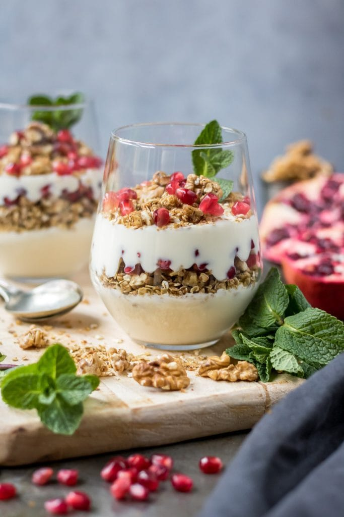 Glass of yogurt parfait.