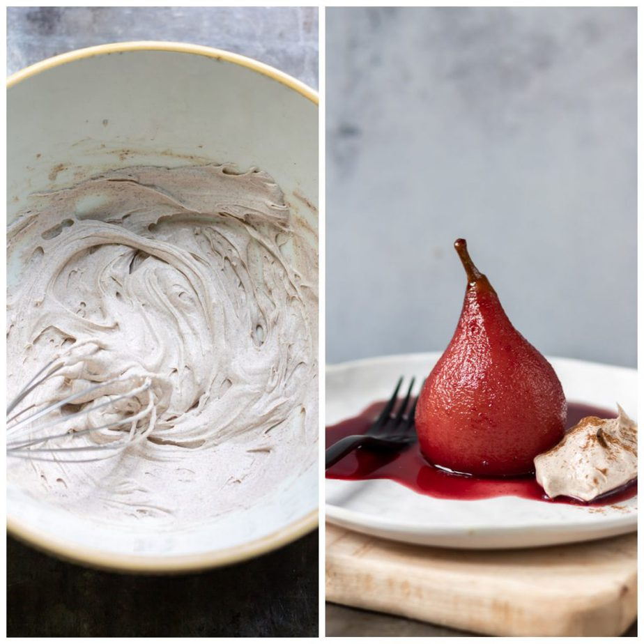 Collage with whipped cream in a bowl and a poached pear on a plate with cream.