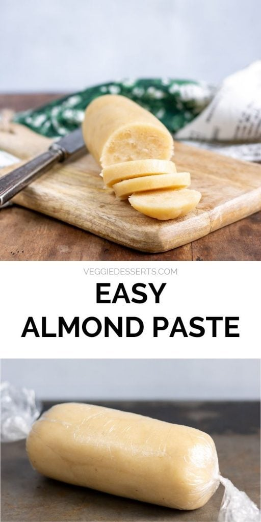 Almond paste cut and wrapped, with text that reads: Easy Almond Paste.