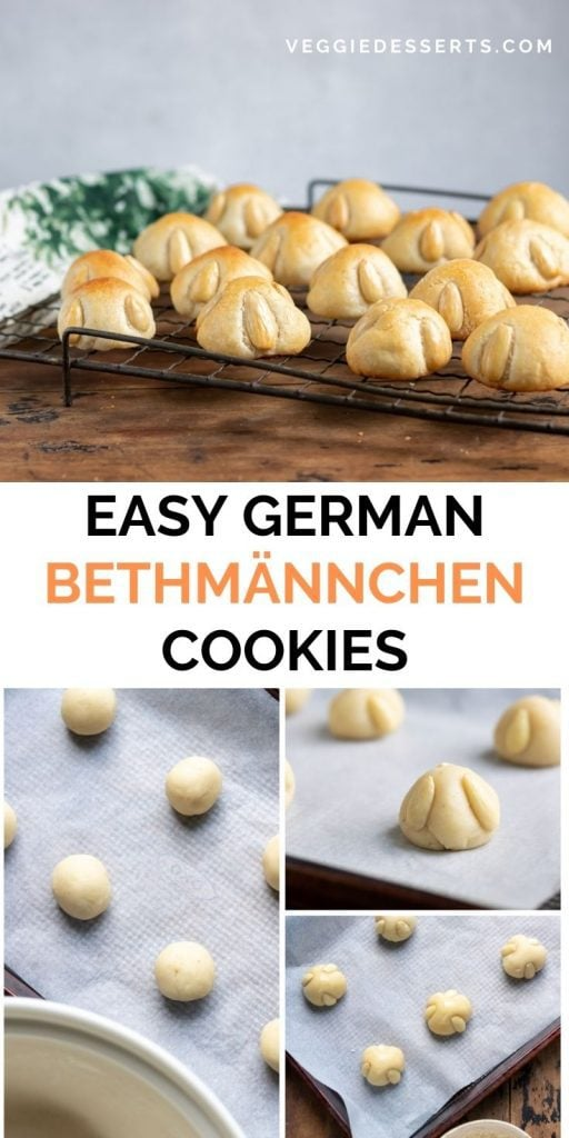 Cookies on a rack and rolled on a cookie sheet, with text: Easy German Bethmännchen Cookies