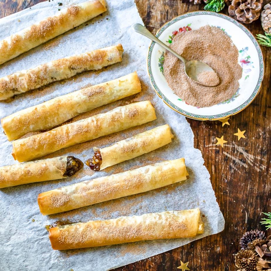 Rows of mince pie filo rolls.
