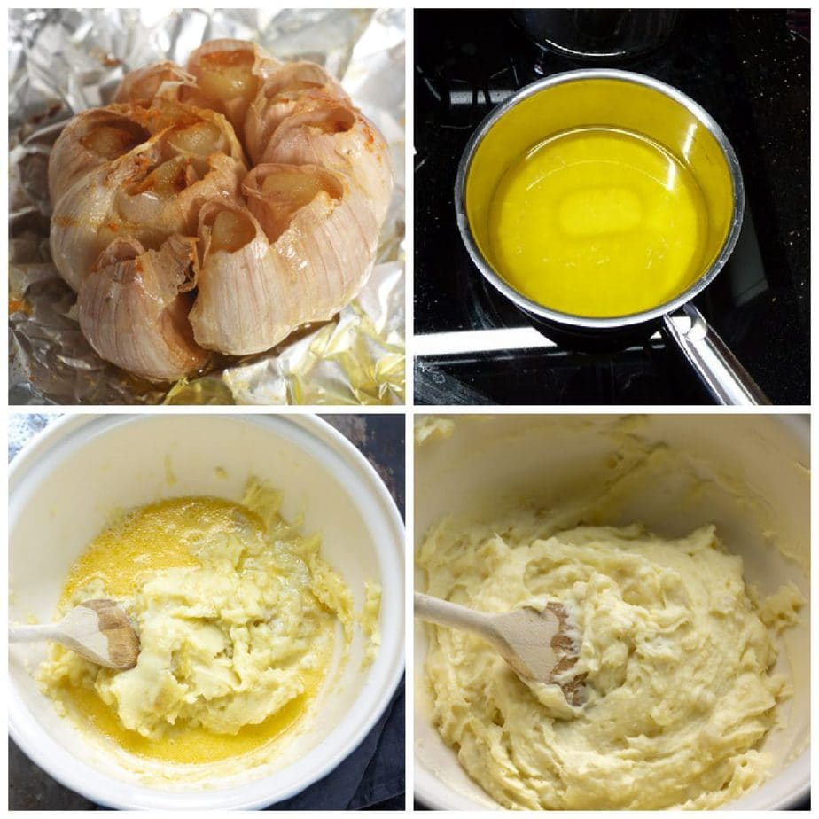 Collage: roasted garlic bulb, melted butter, butter in potatoes, mashed potatoes.