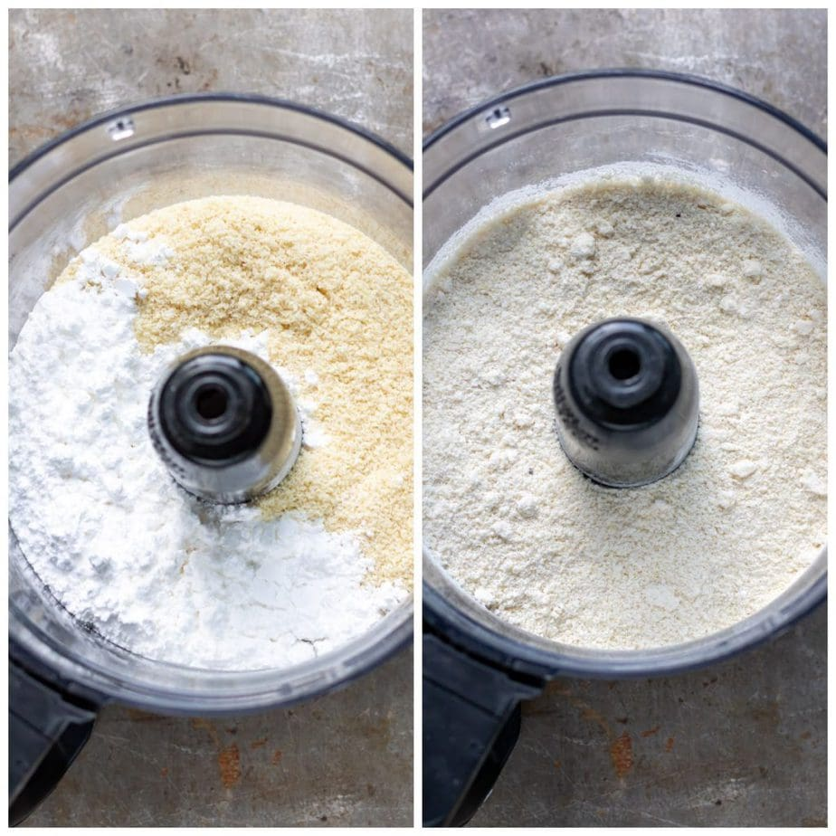 Collage: food processor with almond meal and icing sugar, image of it whizzed together.