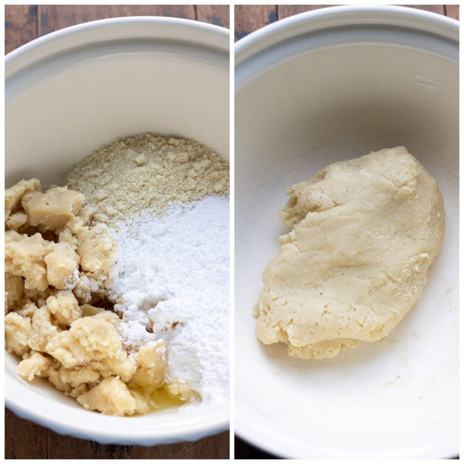 Collage: mixing bowl of marzipan, powdered sugar and almond meal, bethmannchen dough.