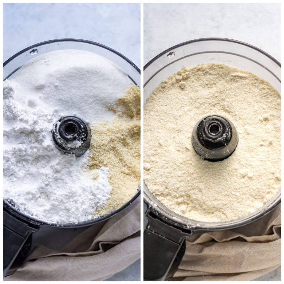 Collage with food processor of almond meal and sugars, food processor with them whizzed together.