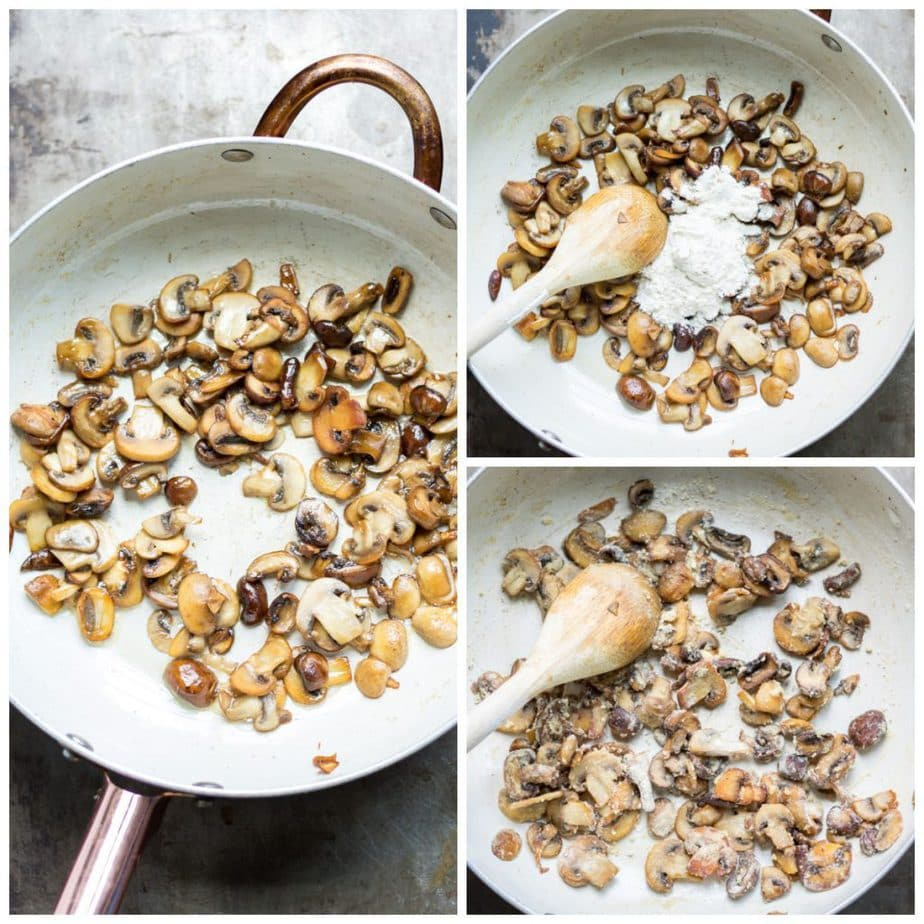 Collage: cooked mushrooms in a pan, with flour added, flour stirred in.