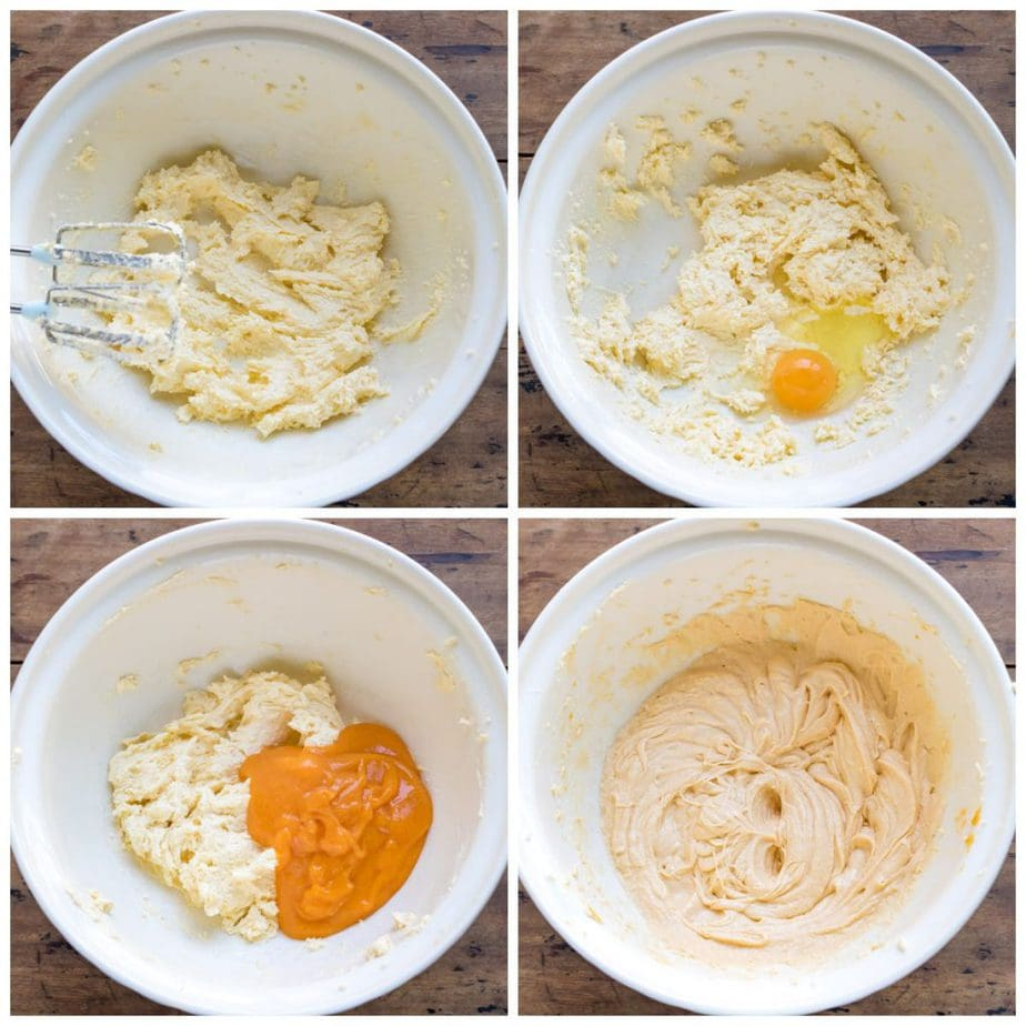 Collage: creamed butter and sugar, egg added, persimmon pulp added.