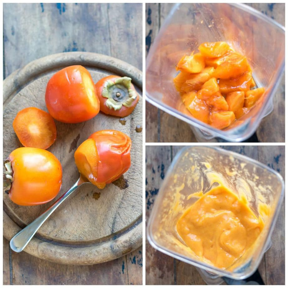 Collage: ripe persimmons, persimmon flesh in a blender, whizzed into a puree.