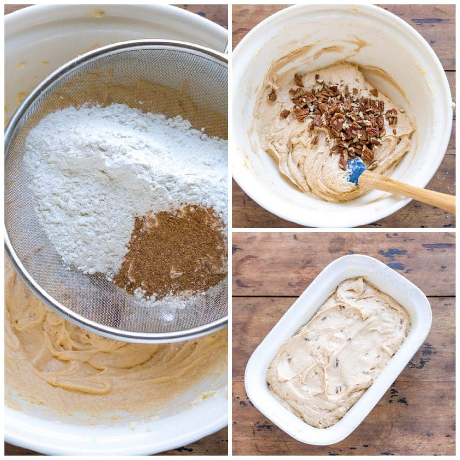 Collage: dry ingredients sifted into the batter, pecans added, spooned into a loaf pan.