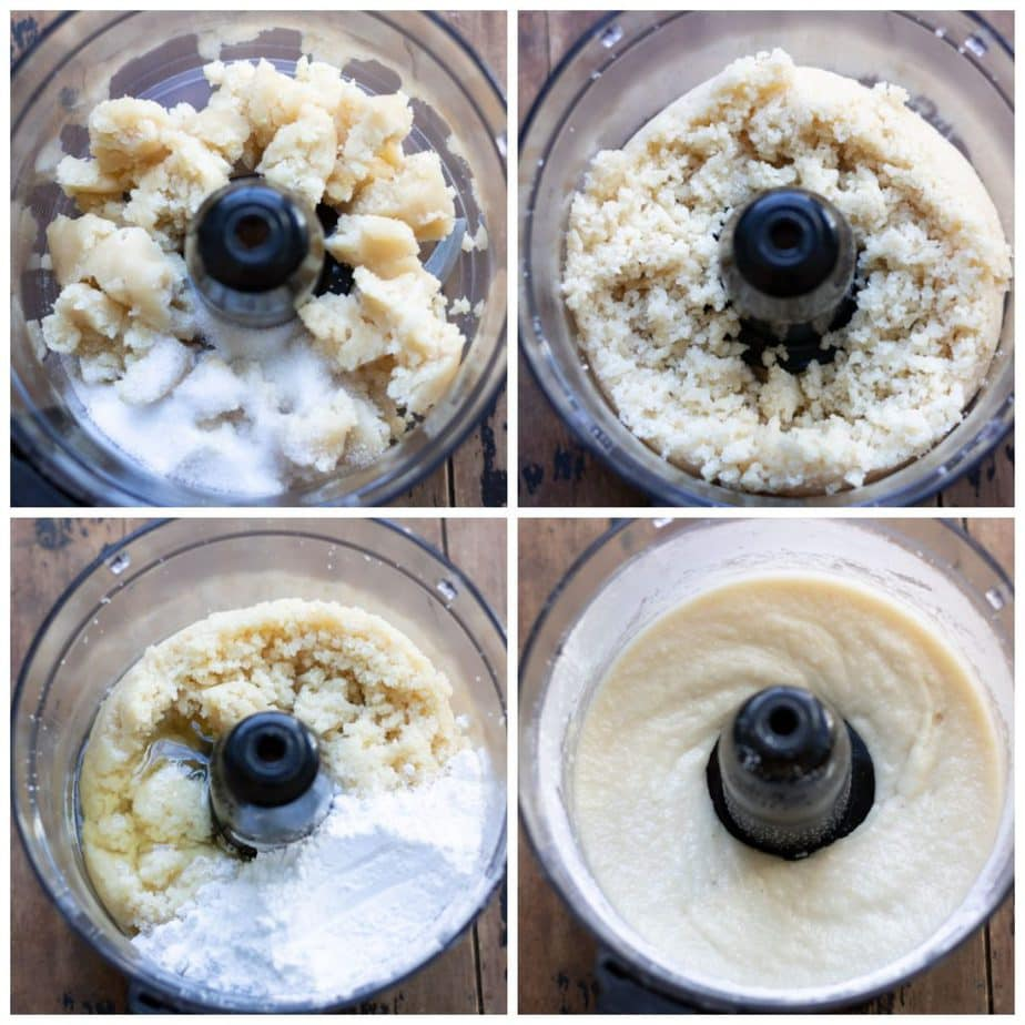Collage of making pignoli cookies in the food processor with different stages.