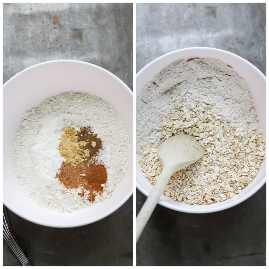 Collage: Bowl of flour and spices, bowl of it mixed with oats added.