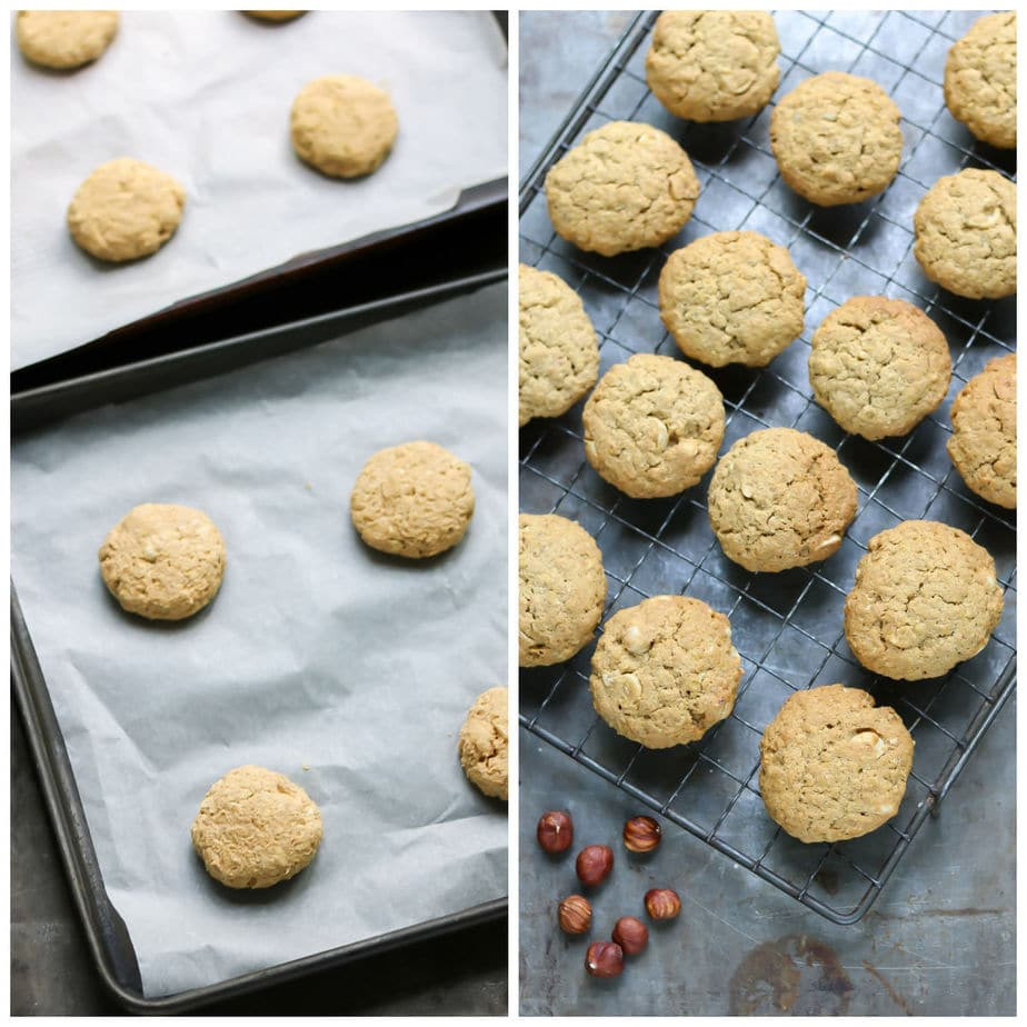 Cookies on a tray to be cooked, next to pic of them on wire rack.